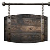 Das mittelalterliche Schild des hölzernen Fasses, das an den Ketten hängt, lokalisierte Illustration 3d stockfotografie