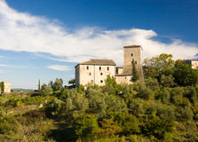 Das mittelalterliche Schloss in Stigliano nahe Siena, Toskana, Italien lizenzfreies stockbild