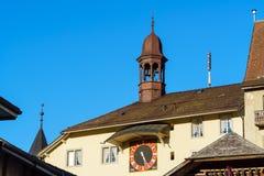 Das mittelalterliche Schloss von Gruyeres, die Schweiz lizenzfreie stockbilder