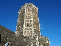 Das mittelalterliche Schloss von Oudon, Abteilung der Loires Atlantique, Frankreich Stockfotografie
