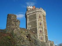 Das mittelalterliche Schloss von Oudon, Abteilung der Loires Atlantique, Frankreich Lizenzfreie Stockfotos