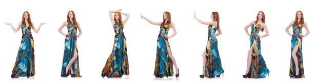 Das Modell im hübschen Kleid lokalisiert auf Weiß lizenzfreie stockbilder