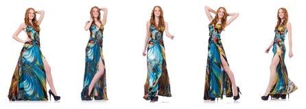 Das Modell im hübschen Kleid lokalisiert auf Weiß lizenzfreie stockfotografie