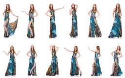 Das Modell im hübschen Kleid lokalisiert auf Weiß Stockfotografie
