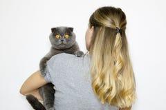 Das Modell ist zurück zu der Kamera und hält die Katze in den Händen des links stockfotografie
