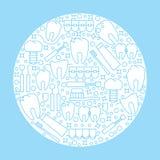 Das moderne runde Logo oder das Emblem der zahnmedizinischen Klinik Ikonen der Krankheit und der Zahnbehandlung Lizenzfreies Stockbild