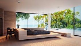 Das moderne Schlafzimmer - Seeansicht für die Ferien und Sommer/3d Innenraum übertragend Stockfotografie