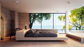 Das moderne Schlafzimmer - Seeansicht für die Ferien und Sommer/3d Innenraum übertragend Lizenzfreie Stockbilder