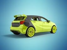Das moderne Sportauto ist das hellgrüne Grau 3d, das nicht blauen Hintergrund mit Schatten überträgt Stockbilder