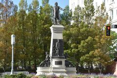Das Monument zu Brigham Young und zu den Pionieren in Salt Lake City, Utah Stockfotos