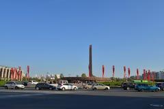 Das Monument zu den 900 Tagen der Blockade während der Feier Lizenzfreies Stockfoto
