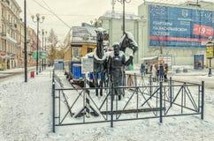 Das Monument zu Pferdetram konka in St Petersburg Stockbilder