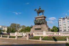 Das Monument zum Zar-Befreier Alexander II. Ist das imponierende Monument des russischen Kaisers sitzt zu Pferd in der Stadt stockfoto