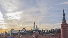 Das Moskau der Kreml bei Sonnenuntergang Stockbild