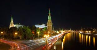 Das Moskau Kremlin nachts Stockfotografie