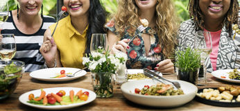 Das mulheres de uma comunicação do jantar conceito junto imagem de stock royalty free