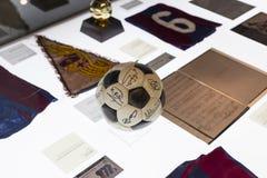 Das Museum von Trophäen der Cups und der Preise des Team FC Barcelona in von Camp Nou Stockfoto