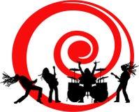 Das Musikerschattenbild auf rotem Strudel Stockfotografie