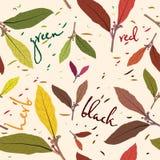 Das Muster von Teeblättern Nahtlose Schablone für Ihre Design Tapete, Muster, Hintergründe, Beschaffenheiten der Oberfläche Lizenzfreies Stockbild