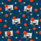 Das nahtlose Muster auf dem Basketballthema lizenzfreie abbildung