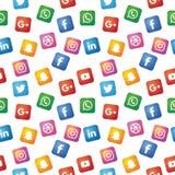 Das nahtlose Muster benutzt durch Social Media-Ikone lizenzfreie abbildung