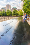 Das nationale 9/11 Denkmal am 11. September am World Trade Center-Bodennullpunktstandort Stockbild