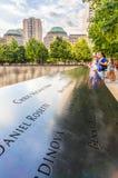 Das nationale 9/11 Denkmal am 11. September am World Trade Center-Bodennullpunktstandort Stockbild