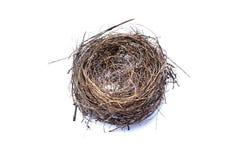 Das Nest des Vogels lokalisiert auf weißem Hintergrund stockbild