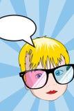 Das nette Baby, das sunglass 3d trägt, möchten sagen Stockfotos