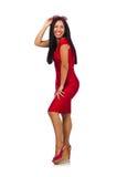 Das nette Frauenmodell lokalisiert auf dem weißen Hintergrund Lizenzfreie Stockfotos