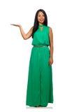 Das nette Frauenmodell lokalisiert auf dem weißen Hintergrund Stockfoto