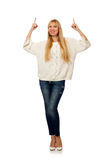 Das nette Frauenmodell lokalisiert auf dem weißen Hintergrund lizenzfreies stockbild