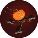 Das nette Halloween-Kürbis-Fliegen auf einem Brummen Lizenzfreie Stockfotografie