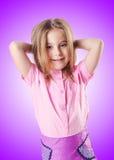 Das nette kleine Mädchen lokalisiert auf dem Weiß lizenzfreie stockbilder