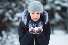 Das nette Porträt der jungen Frau, das mit Schnee in den warmen woolen Handschuhen spielen, der Hut und der Mantel im Winter park stockfotografie