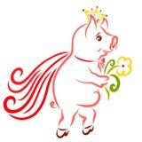 Das nette Prinzschwein beeilt sich bis jetzt mit einer Blume in seiner Tatze stock abbildung