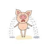 Das nette Schwein der Karikatur, das mit dem breiten Mund schreit, öffnen sich Stockbild