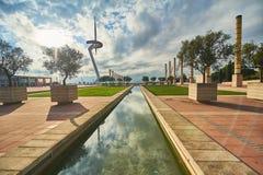 Das Olympiastadion und Dorf in Barcelona während Olympischer Spiele 1992 Lizenzfreie Stockfotos