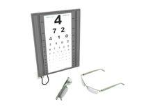 Das Optometrikerbrett 3d übertragen auf einem weißen Hintergrund keinen Schatten Lizenzfreies Stockfoto