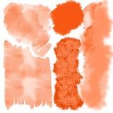Das orange verschiedene Aquarell spritzt stockfotografie