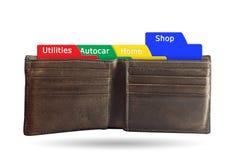 Das Ordnereinkaufskonzept auf brauner Geldbörse lokalisierte weißes backg Stockbild