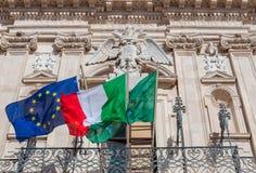 Das Palazzo Beneventano Del Bosco ist eine große Stadtwohnung in Syrakus in Sizilien Lizenzfreie Stockfotos