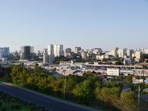 Das Panorama von der Höhe zu Rostov- On Donstadt Stockfotografie