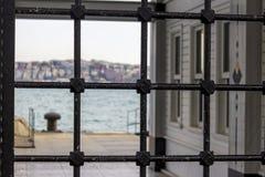 Das panoramo von Istanbul Bosphorus an Be?ikta?-Dock stockfoto