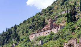 Das Pantanassa-Kloster in Mystras, Peloponnes, Griechenland Stockfotos