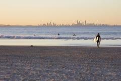 Das Paradies des Sonnenuntergang-Surfers stockbilder
