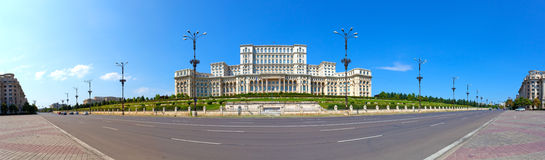 Das Parlament bringen Panorama, Bucharest, Rumänien unter Stockbilder