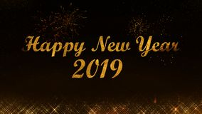 Das partículas claras douradas do brilho do Feliz Natal e do ano novo feliz 2019 fundo preto fotos de stock royalty free