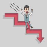 Das Pfeildiagramm, das unten gehen und der Geschäftsmann fällt ab Lizenzfreie Stockfotografie