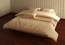 Das Photorealistic Bett übertragen Lizenzfreie Stockbilder